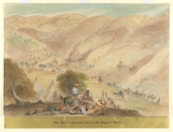 The third descent from the Khojak Pass (Baluchistan).  In the foreground the encampment of the 1st Bengal European Regiment with camp followers